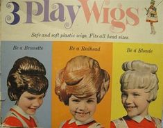 "3 plastic ""play wigs"" - 1963.  These remind me of Lynda Barry's comics about Marlys and the gang.  @Craig Bostick"