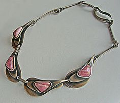Maxwell Chayat sterling and rhodochrosite necklace and earrings    1950