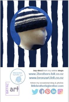 Handknit: Navy Stripes - child's hat in navy and off-white Angela White, Kids Hats, Navy Stripes, Hand Knitting, Off White, Knitted Hats, I Shop, Colours, Children