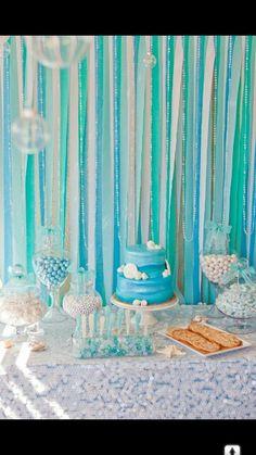 Painel de fitas, painel fundo da mesa de bolo,  background. Festa Fundo do mar. Under the sea party.