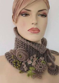 Hand knitted and Crocheted Pale Olive Scarf - Neck Warmer It is a very cozy, warm and soft accessory. Poncho Au Crochet, Col Crochet, Crochet Collar, Freeform Crochet, Crochet Scarves, Irish Crochet, Crochet Clothes, Crocheted Scarf, Crochet Neck Warmer