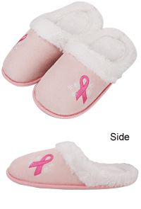 Plush Pink Ribbon Slippers at The Breast Cancer Site.  These slippers are VERY VERY comfortable!  I have already worn out a pair :)
