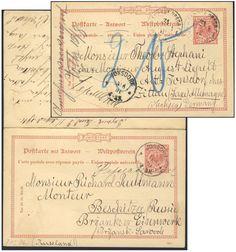 Germany, German Empire, Deutsches Reich 1889, 10 Pfg.-GA-Doppelkarte, von Jonsdorf/Sachsen an das Eisenwerk Beschitza/Rußland, von dort nach Sachsen zurückgeleitet, seltene Destination (Mi.-Nr.P27/01). Price Estimate (8/2016): 25 EUR. Unsold.