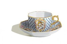 Cup and saucer, Fruits and flowers, early style, flower mosaic, Limited Masterpieces