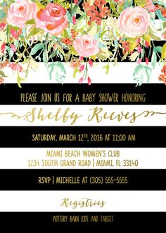 Black and White Striped Gold Foil Floral Baby Shower Invitation with Matching Back, Printed or Printable Options This is a beautiful design that is absolutely perfect for a spring baby shower. Very glam and modern, but it would be equally at home in a preppy party setting. This invitation will set the stage for an ultra-fabulous baby shower! **Please note that this is not real gold foil-- it is a high-resolution effect designed to look like foil. I suggest printing professionally for the…