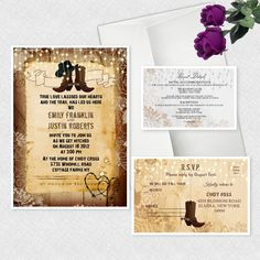 Western Wedding Invitations Cowboy Cowgirl Bridal Shower Personalized Invitation #newyorkinvitations