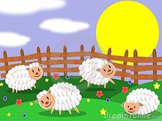 This image represents an happy sheep farm in a sunny day