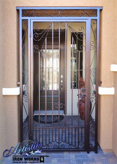Wrought iron entryway with scrolls Wrought Iron Security Doors, Wrought Iron Fences, Home Fencing, Steel Gate Design, Courtyard Entry, Entrance Gates, Iron Doors, Steel Doors, Door Design