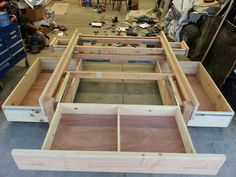 Platform bed with lots of storage -  http://m.instructables.com/id/Platformstorage-bed-frame/