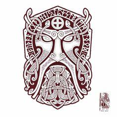 Billedresultat for viking motive Viking Designs, Celtic Designs, Body Art Tattoos, Sleeve Tattoos, Viking Drawings, Norse Mythology Tattoo, Symbole Viking, Mask Tattoo, Thor Tattoo