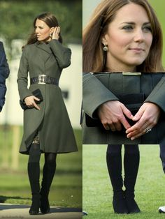"""Catherine, Duchess of Cambridge wore a green Reiss """"Angel"""" fit and flare coat, Aquatalia """"Rhumba"""" boots, a Mascaro suede ribbon clutch, and a Reiss """"Betony"""" embossed black belt as she attends the opening of St. George's Park, the Football Association's National Football Centre in Burton-Upon-Trent, October 9, 2012."""