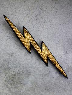 Hand Embroidered Lightning Brooch