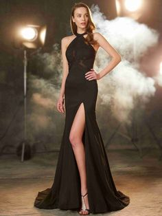 Sheath/Column Jewel Sleeveless Sweep/Brush Train Beading Elastic Woven Satin Dresses