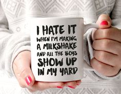 Celebrate your impressive ability to make milkshakes with this funny mug ;)  This is a classic white ceramic mug that is microwave & dishwasher