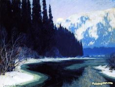 A Silent Stream of the North Artwork by Clarence Gagnon Hand-painted and Art Prints on canvas for sale,you can custom the size and frame