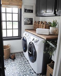This would be awesome too with teal cabinets Storage Shelves Ideas Laundry room decor Small laundry room organization Laundry closet ideas Laundry room storage Stackable washer dryer laundry room Small laundry room makeover A Budget Sink Load Clothes Farmhouse Laundry Room, Laundry In Bathroom, Laundry Closet, Basement Laundry, White Bathroom, Vintage Laundry Rooms, Master Bathroom, Laundry Area, Bath Laundry Combo