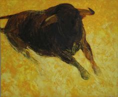 """Saatchi Online Artist: Monica Rotgans; Oil, 2012, Painting """"Bull, Moving Light"""""""