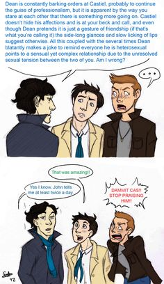 Sherlock breaks down Dean and Cas. The level if awesomeness in this picture.