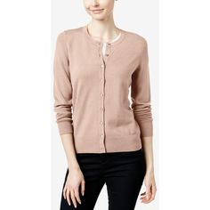 Charter Club Long-Sleeve Cardigan, ($30) ❤ liked on Polyvore featuring tops, cardigans, ballet pink, pink tops, pink long sleeve top, long sleeve cardigan, ballet tops and button front tops