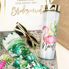 Instantly transport your leading ladies to white sand and blue water with these tropical beach skinny tumblers personalized with a custom name. Bridesmaid Thank You, Asking Bridesmaids, Bridesmaid Gifts, Script Lettering, Tropical Beaches, Custom Tumblers, Small Things, Thank You Gifts, Party Gifts