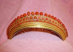 Antique-French-Ormolu-Coral-Tiara-Comb-Crown-18th-Century-Napoleon-Gilt