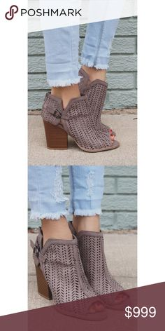 """‼️SALE‼️Taupe Cut Out Booties We are obsessed with these perfectly cut out booties! they are the ideal pair of peep toes for any occasion! They are a pair of faux suede, peep toe ankle booties w/ buckled ankle, mini cut outs, zipper back and a chunky heel.  Heel height: 3.5"""" (approx)  follow us on Instagram @b_bchic_boutique for awesome perks! B Chic Boutique Shoes Ankle Boots & Booties"""