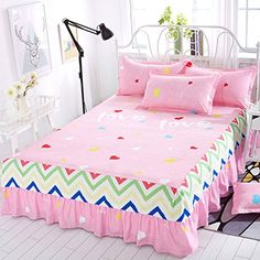 Bed skirt Bedcover Floral Fitted Sheet Cover Bedspread Bedroom Home Textile Skirt Cubrecama Single Full Queen Bedspread Bed Skirts Camas King, Lit Simple, Shops, Bedding Basics, Best Mattress, Design Your Home, Halloween Party Decor, Bed Covers, Bed Spreads