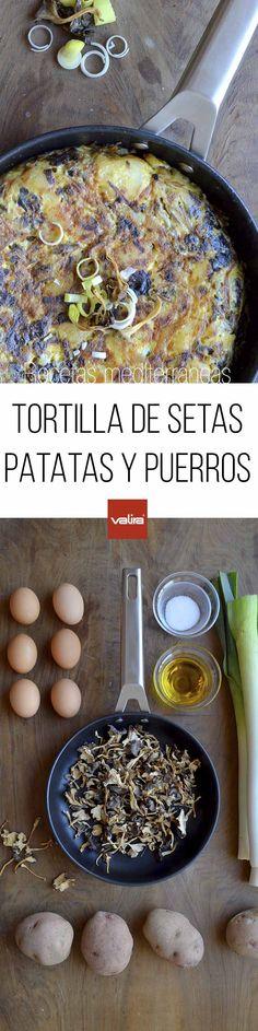 Receta de tortilla de patatas, puerros y setas con la sartén 24 cm. AIRE de VALIRA