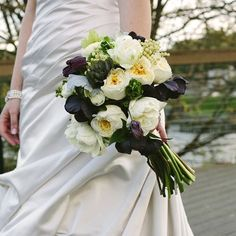 Jenn's bouquet is a blend of ivory Ranunculus, ivory berries and deep purple foliage.   Image Credit: Katie and Joshua Studios