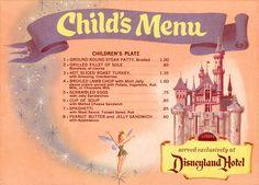 Disneyland Menu, Scrambled eggs with jelly sandwiches! Disneyland knew what was up Retro Disney, Old Disney, Disney Food, Disney Magic, Disney Art, Walt Disney World, Disney Movies, Disney Pixar, Disney Stuff