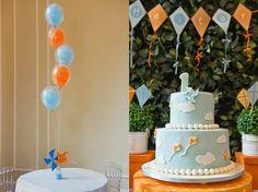 Festa pipa e cataventos para o primeiro aniversário do filhote!  Bolo pipa!  (Kite party - kite cake)
