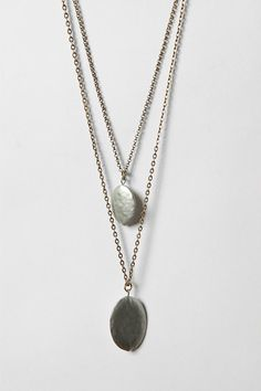"Double Drop Necklace $29 (32""l chain; 2"" extender 1"" small pendant; 1.25"" large pendant)"