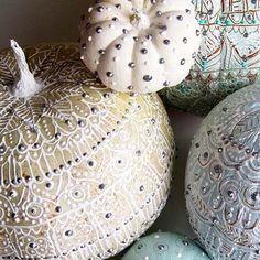 DIY Fall Decorations - Puff Paint on White Pumpkins via casasugar.com
