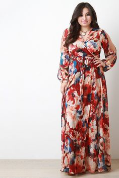 Floral Printed Mesh Slit Sleeve Wrap Maxi Dress