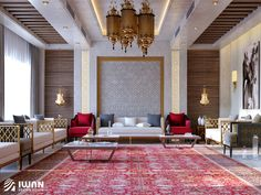 Islamic Style Villa Interior designLocated in Riyadh - Saudi Arabia Mansion Interior, Luxury Interior, Interior Design, House Ceiling Design, House Design, Home Design Living Room, Luxury Living, Decoration, House Styles