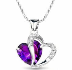 Heart-Shape-Pendant-Rhodium-Plated-Diamond-Accent-Amethyst-Necklace-18-Inch-Gift