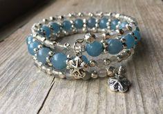 Beachy Blue Multi Strand Gemstone Memory Wire Wrap Bracelet With Starfish Charms