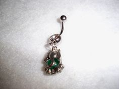 green elephant with crystal stone belly button ring