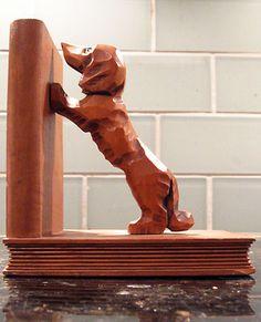 Hand-carved Vintage Western German Wood Dachshund Dog Bookend