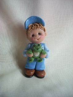 frog boy personalized Christmas ornament polymer clay by clayqts, $18.95