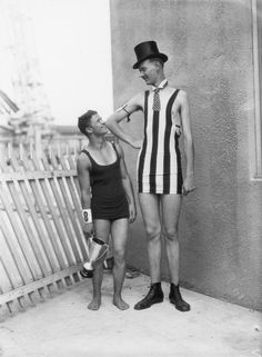 Two contestants in the Venice Beach Good Looking Man Pageant c.1930, (the man on the left beat the man on the right).
