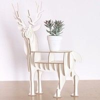 Description - Material: MDF - Color: White, Yellow, Brown - Pattern: Elk - Dimensions: approx. 400x4