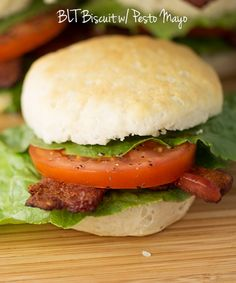 BLT Biscuits for breakfast, lunch, or dinner!  Crispy bacon, fresh tomatoes, and lettuce on biscuits with creamy pesto mayo!