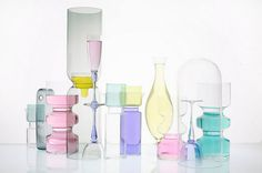 glassware filled with pastel colored liquid.