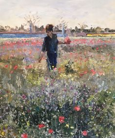 Original Painting collected Artist Samuel Burton BA Woman collecting flowers