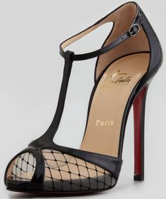 Christian Louboutin 'Lagoula' T-Strap Fishnet Red Sole Pumps