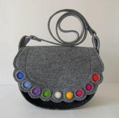 Handmade medium shoulder, saddle felt handbag grey and rainbow dots,