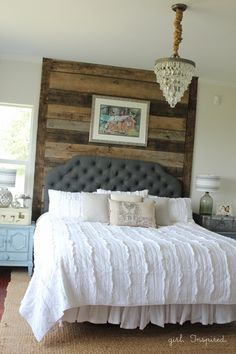 Master Bedroom Reveal with wood wall, specialty paint techniques, and upholstered headboard | #SWRenew
