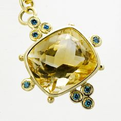 Lemon Citrine Pendatn set in 18ct yellow gold with 8 blue diamonds from the Brilliana collection.  #ChristmasGiftGuide #SophieHarleyLondon #jewellery  Shop: http://www.sophieharley.com/product.php?id=1192