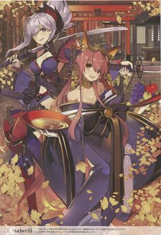Saber (Miyamoto Musashi) & Caster (Tamamo No Mae) - Fate/Grand Order